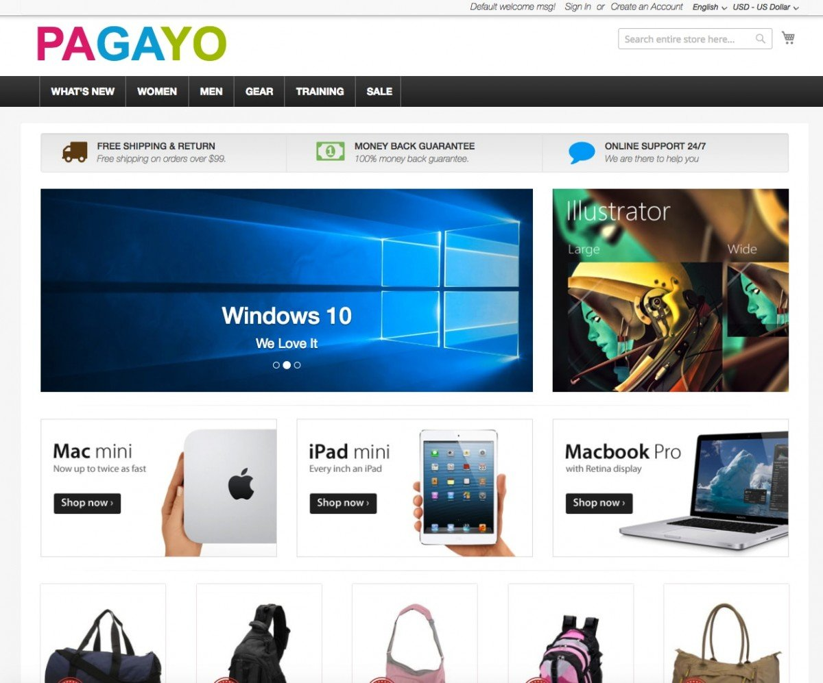 E-commerce by PAGAYO.COM - Magento - Shopify - Woocommerce