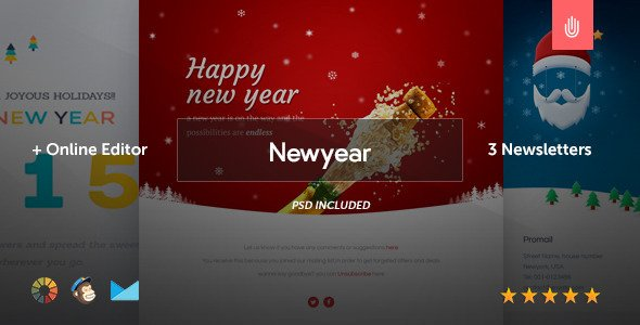 Newyear - 3 Email Templates + Online Editor