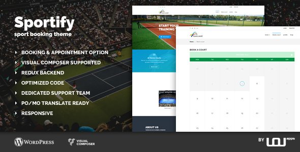 Sportify – Sport Booking Theme            – Download and Free Demo