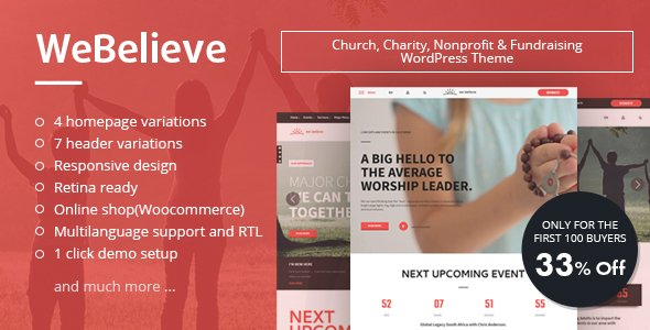 WeBelieve   Responsive Multi-Purpose Church, Charity and Fundraising WordPress Theme            – Download and Free Demo