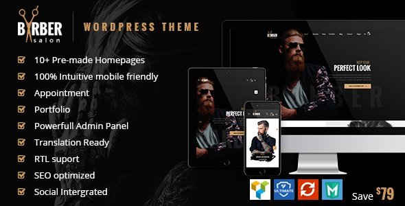 Barber – Hair & Beauty Salons WordPress Theme  – Download and Free Demo