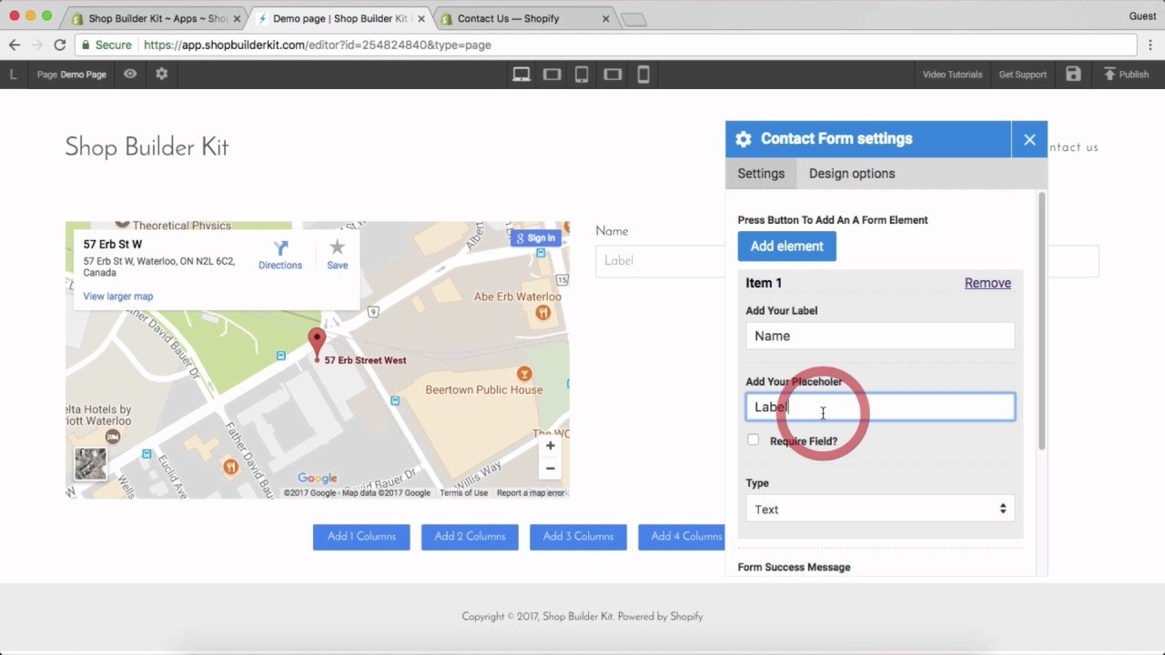Shop Builder Kit Shopify Tutorial – Adding a simple contact page with map and form
