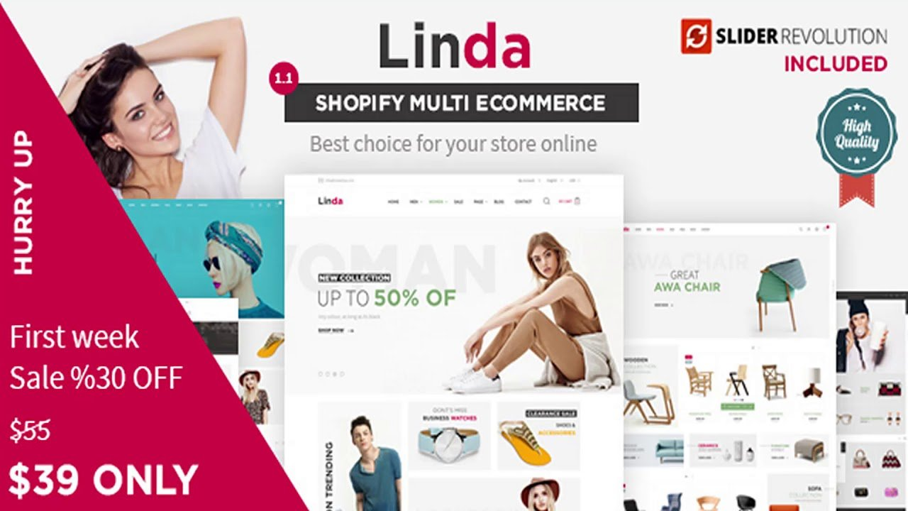 Linda – Multi-purpose Shopify Theme with Drag & Drop section builder | Themeforest Website
